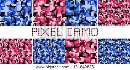 Pixel camo seamless pattern Big set. Urban pink blue camouflages. Vector fabric textile print designs