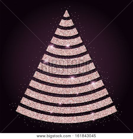 Pink Golden Glitter Pleasing Christmas Tree. Luxurious Christmas Design Element, Vector Illustration