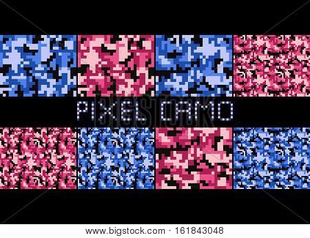 Pixel camo seamless pattern Big set. Urban pink blue brown camouflages. Vector fabric textile print designs