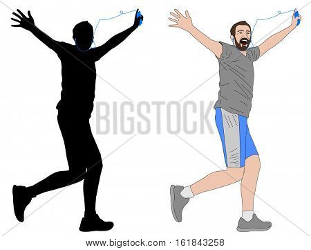 happy man running with earphones illustration and silhouette - vector