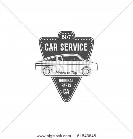 Vintage car service label design. Automotive emblem in monochrome retro car and typography elements. Good for tee shirt design, prints, car service logo, repair station label, badge. .
