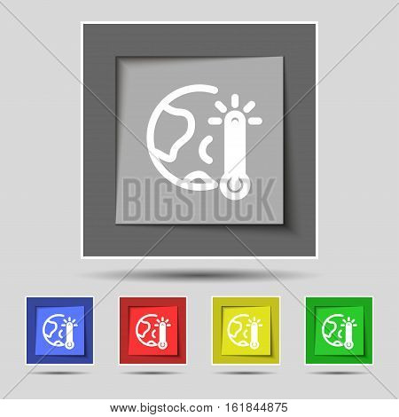 Global Warming, Ecological Problems And Solutions, Thermometer Icon Sign On Original Five Colored Bu