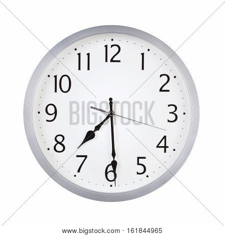 Half past seven o'clock on the dial round
