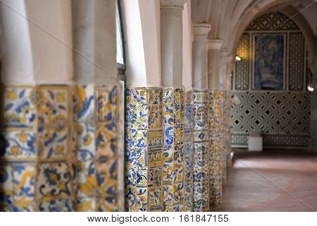 BEJA, PORTUGAL - OCTOBER 16, 2016: Cloister of the regional Museum Queen Dona Leonor (Nossa Senhora da Conceicao Convent)
