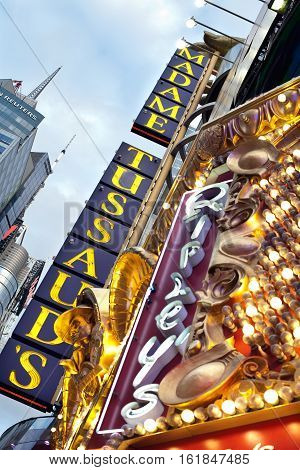 NEW YORK CITY USA - September 23 2015: A advertising sign for Madame Tussauds down 42nd Street in New York City during the day