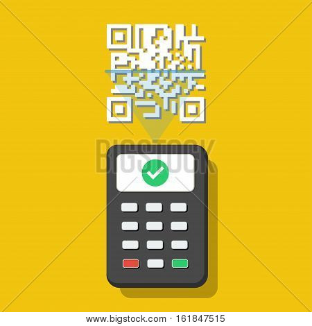 QR scanner check QR code. Vector illustration
