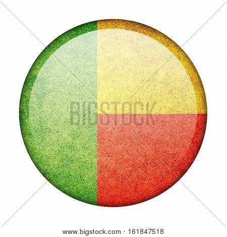 Benin button flag isolated on white background  ,3D illustration
