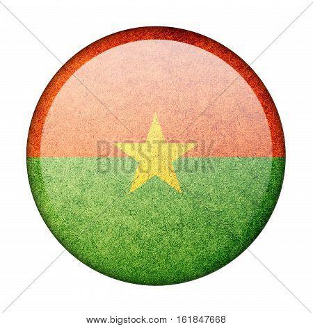 Burkina Faso button flag isolated on white background  ,3D illustration