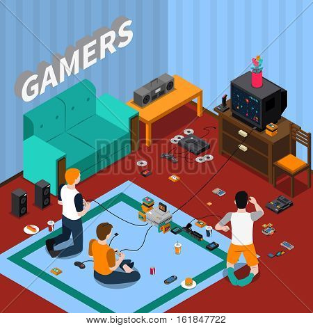 Game gadgets isometric template with children playing videogames at home vector illustration