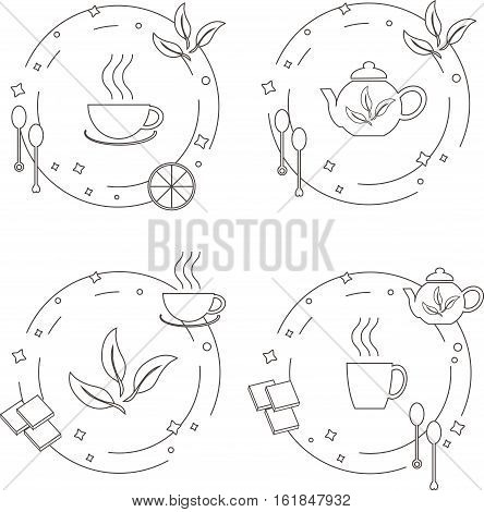 Concept of tea making process. Perfect design element for advertising, banners and flyers with tea symbols made in modern line style, stock vector illustration