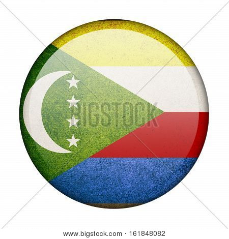 Comoros button flag isolated on white background  ,3D illustration