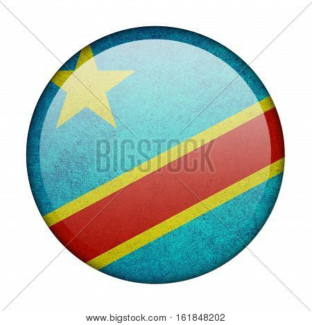 Democratic Republic of the Congo button flag isolated on white background  ,3D illustration