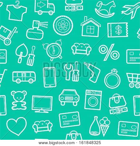 Categories of goods, Internet-shop, seamless background, green. Vector white outline icons of industrial goods on a green background. Plain, flat background.