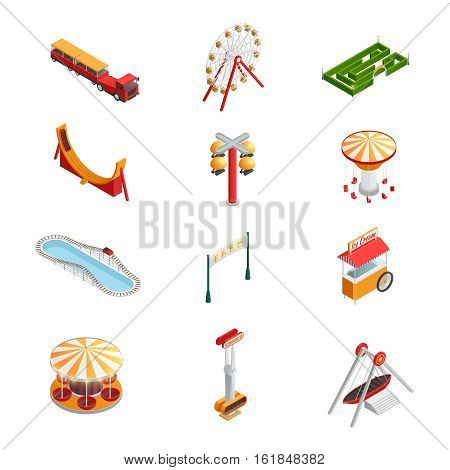 Amusement park for children with attractions isometric icons set isolated vector illustration