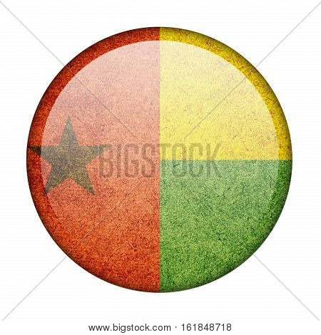 Guinea-Bissau button flag  isolate  on white background,3D illustration.