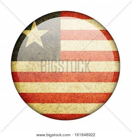 Liberia button flag  isolate  on white background,3D illustration.