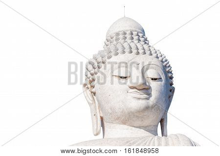 Close up of the Big Buddha head, isolated on white background. Front view. Nakkerd hills in Ao Chalong, Phuket, Thailand.