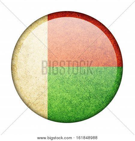 Madagascar button flag  isolate  on white background,3D illustration.