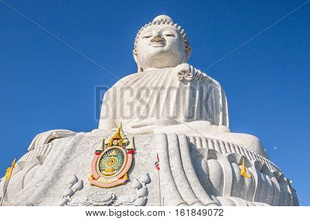 The Big Buddha of Phuket in the blue sky. Nakkerd hills in Ao Chalong, Phuket, Thailand. Symbol of peace and spirituality.
