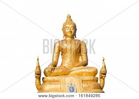 The golden Buddha inside the temple of popular and largest Bid Buddha in Chalong, Phuket, Thailand. Peace and meditation concept. Isolated on white background.