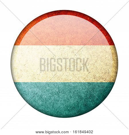 Luxembourg button flag  isolate  on white background,3D illustration.