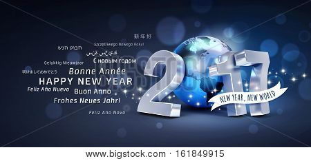 International greetings and 2017 New Year type composed with a blue planet earth glittering on black background - 3D illustration