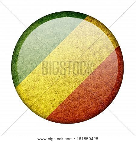 Republic of the Congo button flag  isolate  on white background,3D illustration.