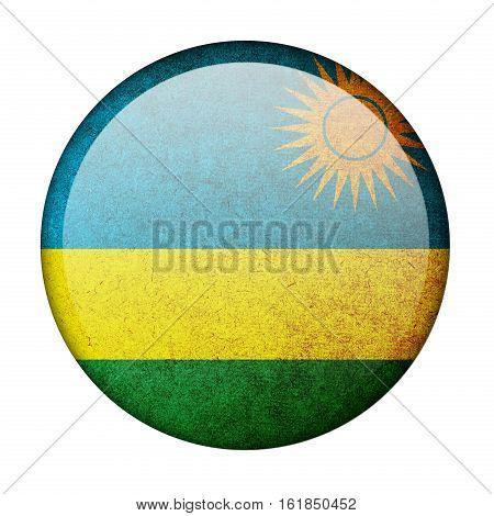 Rwanda button flag  isolate  on white background,3D illustration.