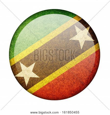 Saint Kitts and Nevis button flag  isolate  on white background,3D illustration.