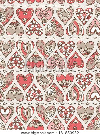 Beige background with red decorative valentine hearts with flowers vector illustration. Ideal for printing onto fabric and paper or scrap booking