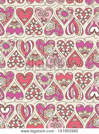 Beige background with pink decorative valentine hearts with flowers vector illustration Ideal for printing onto fabric and paper or scrap booking
