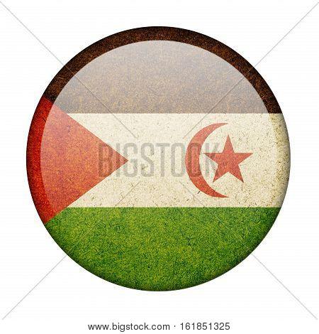 Western Sahara button flag isolate on white background