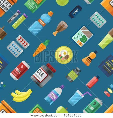 Sport food seamless pattern. Energy drink vegetables care fresh nutrition wallpaper. Vector fitness illustration with different proteins bottles.
