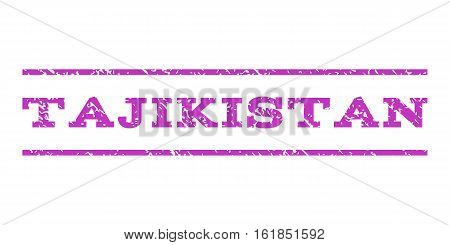 Tajikistan watermark stamp. Text tag between horizontal parallel lines with grunge design style. Rubber seal stamp with dirty texture. Vector violet color ink imprint on a white background.