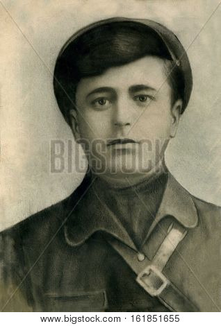 Vintage 1920 studio closeup portrait of a young man, taken in the Northern Caucasus area of Russia.