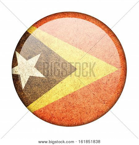 East Timor button flag isolate on white background