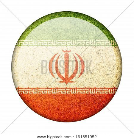 Iran button flag isolate on white background