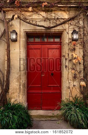 Retro styled door outside of an old french house covered with a dry creeper plant