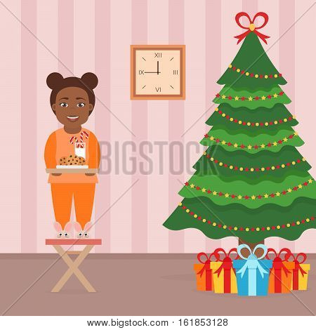 Cute beautiful african girl child standing on a chair near the Christmas Tree. Room interior in flat style. Christmas vector illustration.