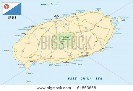 road map of the South Korean island Jeju with flag