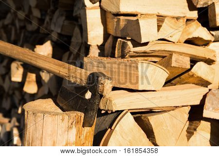 Chopped wooden logs with an old axe or chopper for splitting them into thinner sections embedded in a tree stump conceptual of natural sustainable winter fuel