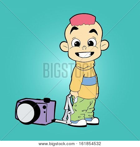 cartoon character boy photographer with camera and pink hair