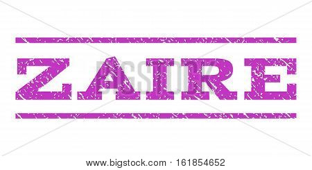 Zaire watermark stamp. Text tag between horizontal parallel lines with grunge design style. Rubber seal stamp with scratched texture. Vector violet color ink imprint on a white background.