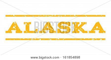 Alaska watermark stamp. Text tag between horizontal parallel lines with grunge design style. Rubber seal stamp with dirty texture. Vector yellow color ink imprint on a white background.