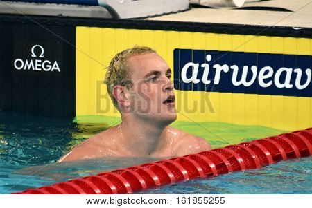 Hong Kong China - Oct 30 2016. Olympian and World Youth gold medalist Peter BERNEK (HUN) after the Men's Individual Medley 200m Preliminary Heat. FINA Swimming World Cup Victoria Park Swimming Pool