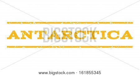 Antarctica watermark stamp. Text tag between horizontal parallel lines with grunge design style. Rubber seal stamp with scratched texture. Vector yellow color ink imprint on a white background.