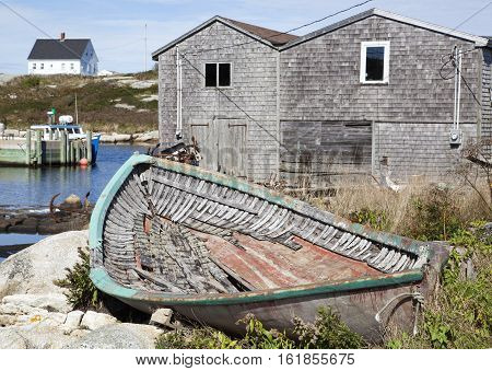 The abandoned wooden boat in Peggy's Cove village (Nova Scotia Canada).