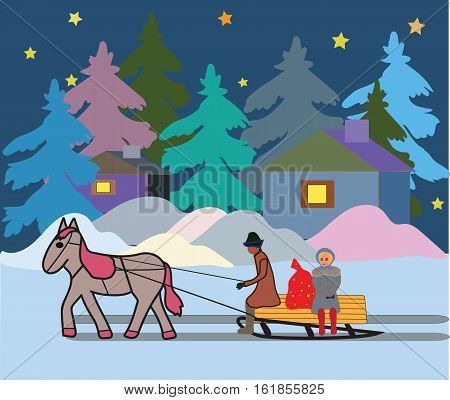 Winter evening Christmas a vehicle with a horse Vector illustration it is maybe used for any professional project