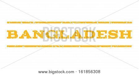 Bangladesh watermark stamp. Text caption between horizontal parallel lines with grunge design style. Rubber seal stamp with dust texture. Vector yellow color ink imprint on a white background.