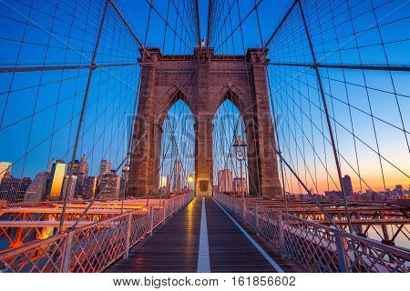Brooklyn Bridge in New York City. Cityscape image of Brooklyn Bridge with Manhattan skyline in the background.